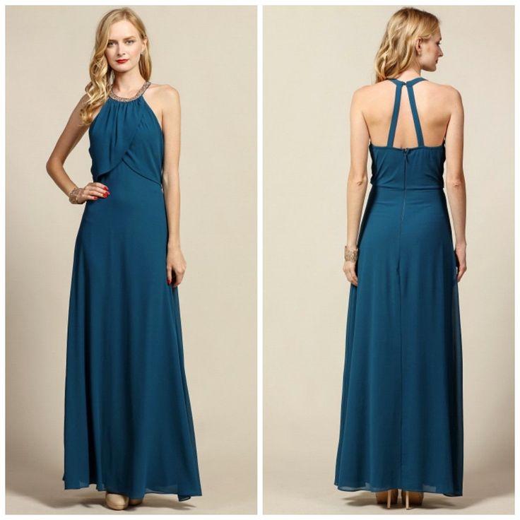 Portrait collar blue dress maxi dress