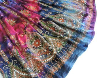 Gypsy Skirt: Tie Dye Skirt Flowy Maxi Peasant Skirt by DelhiDaze