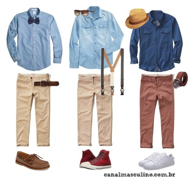 """""""3 opções com camisa jeans e calças chino"""" by canalmasculino on Polyvore featuring moda, Calvin Klein Jeans, Brooks Brothers, Converse, Sperry, Hollister Co., Lanvin, Bed