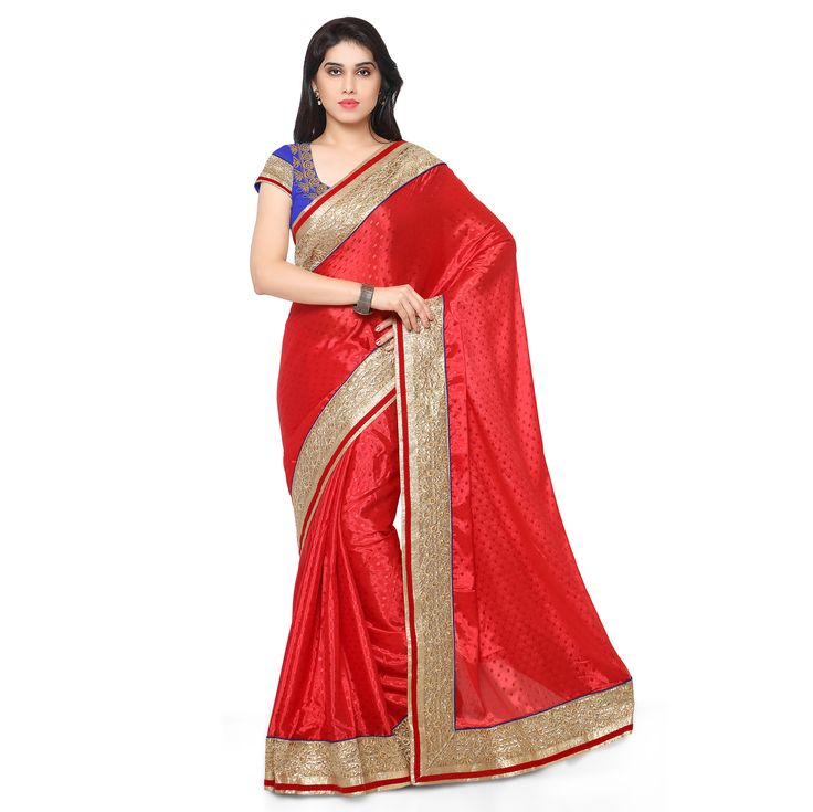 Kapadewala Designer Red Saree For Women