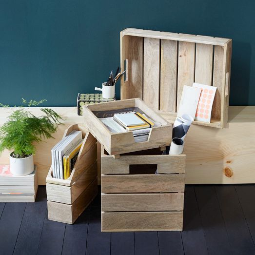 NEW! Made of wood panels, our Crated Office Collection stores office accessories in rustic style.