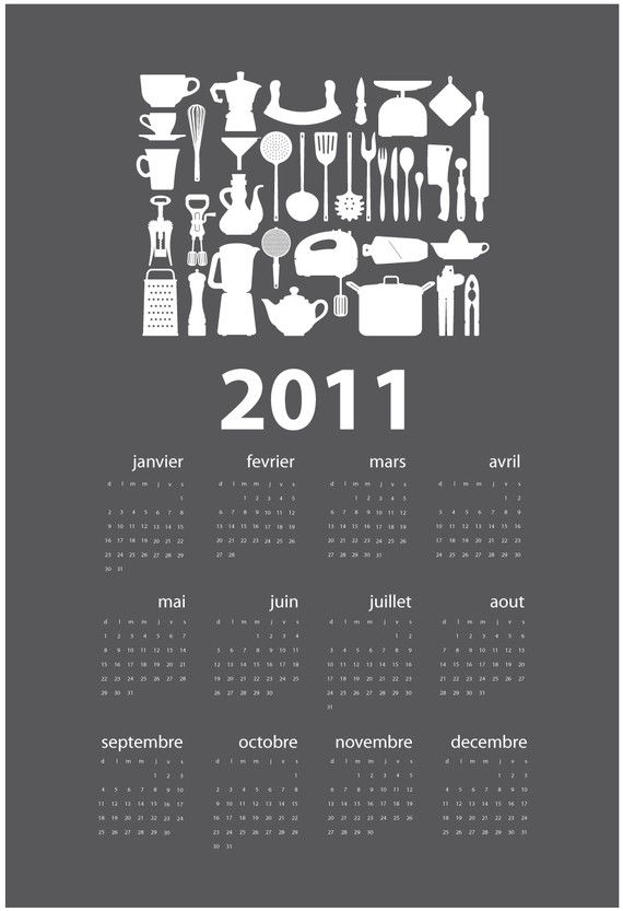 Kitchen Calendar Design : French kitchen calendar dark grey