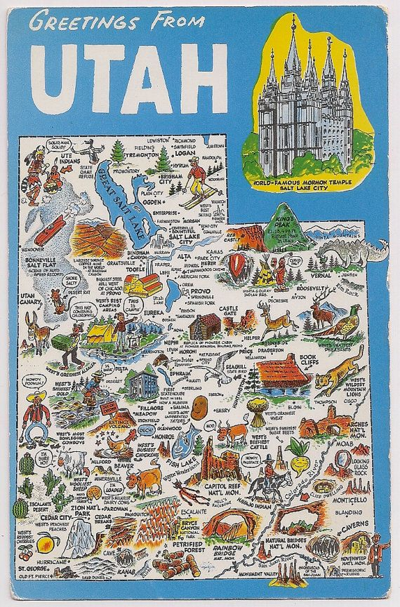 Fun retro greetings from Utah! A tourists map souvenir from Utah with small scenes of landmarks and attractions, little cartoon drawings on the map, Mormon Temple above right corner, These are fun to use in decoupage, for gift baskets, and in travel scrapbooks.    This is a standard size postcard approximately 3 1/2 x 5 1/2, the corners and edges are heavily worn and corner creases and some scrapes and dents on the face, slight vintage tone, not mailed.    More tourist map postcards…