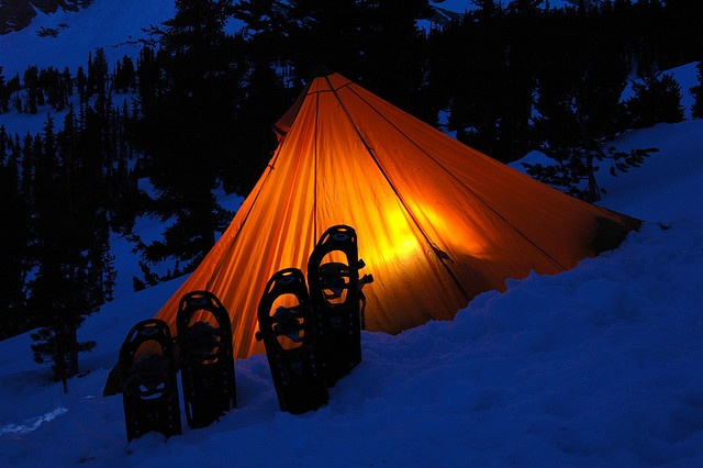 winter camping snowshoes