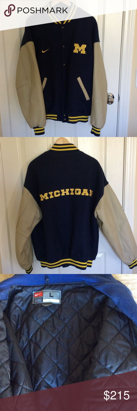 University of Michigan Men's Letterman's Jacket Purchased from the MDen at the University of Michigan and hardly ever worn. This Nike jacket is 70% wool and 30% nylon on the exterior and the sleeves are 100% leather. Very warm and Classic Michigan Nike Jackets & Coats Bomber & Varsity