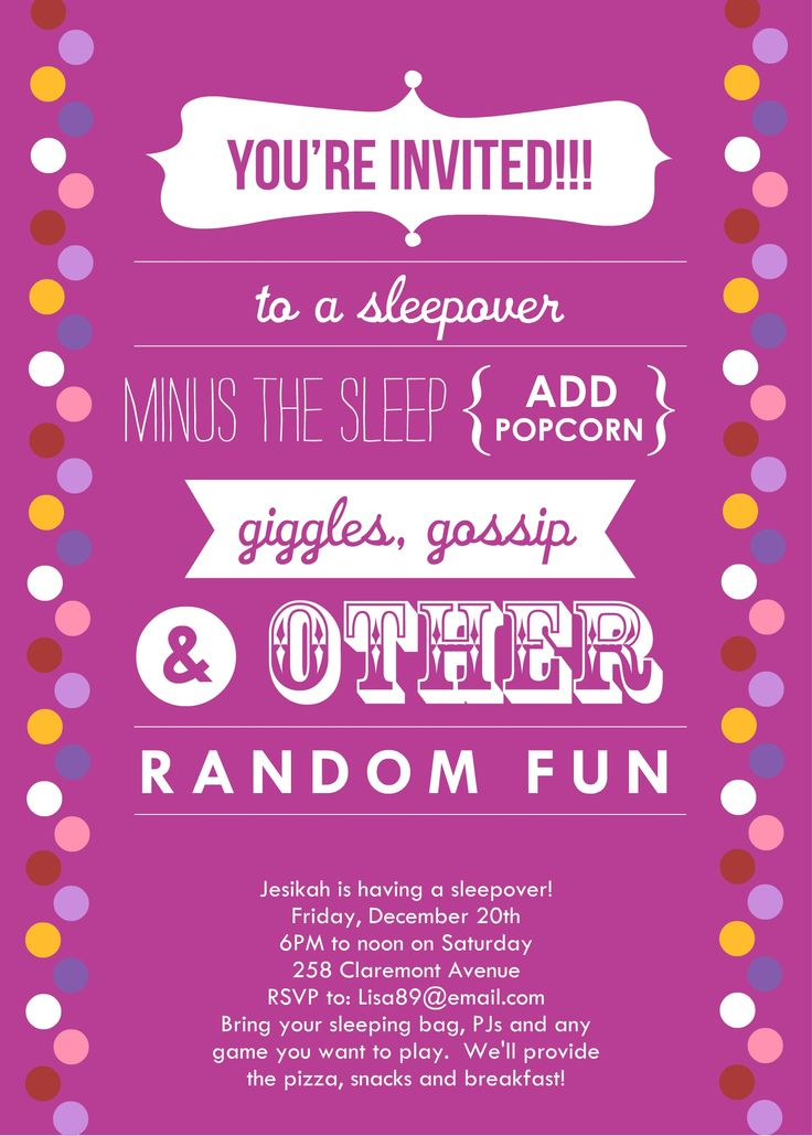 Sleepover Invitations | Announce It by: Alicia F- http://announceit.webstarts.com/ | Pinterest ...