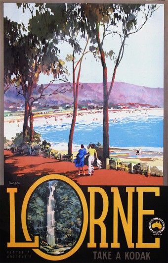 Vintage Travel Poster. Lorne, Victoria, Australia..where the wealthy holiday in Victoria