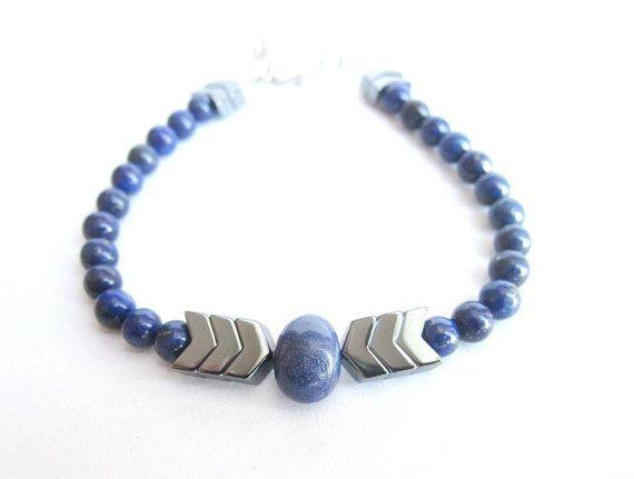 Lapis lazuli bracelet mens mens gemstone by Bravemenjewelry