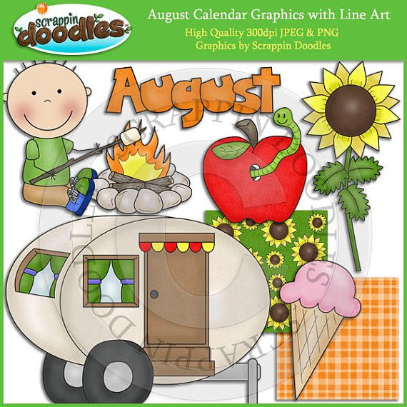 August Calendar Clip Art with Line Art Download by ScrappinDoodles, $4.00