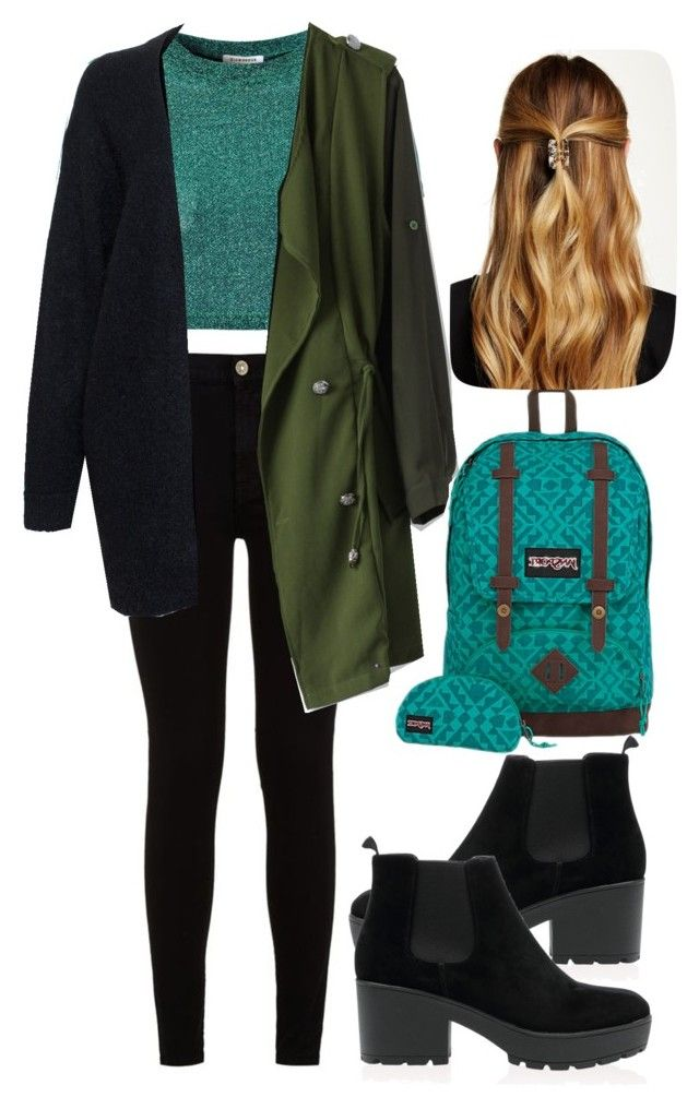 autumn school outfit by slytheriner on Polyvore featuring Acne Studios, Glamorous, Chicwish, 7 For All Mankind, JanSport and Natasha Accessories