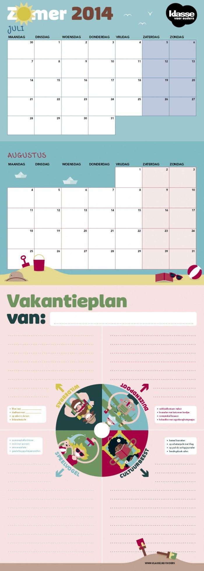 Vakantieplanner mét stickers – Klasse voor Ouders