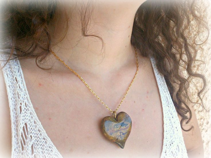 Tiger eye imitation polymer clay heart pendant OOAK October original jewelry,Ready to ship,Greek shop by SueEllenDreamland on Etsy