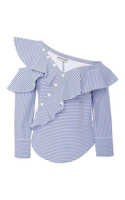 Ruffled Striped Cotton-Poplin Top