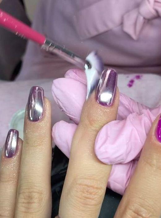 10 Stunning Chrome Nail Ideas To Rock The Latest Nail Trend: #1. Metallic Purple Chrome