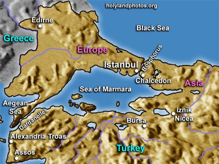 Map showing parts of Bulgaria, Greece, and Turkey. Also shows the Turkish Straits -- the Dardanelles, the Sea of Marmara, and the Bosphorus. Parts of the Aegean Sea and the Black Sea are also shown. Cities on this map include: Edirne, Istanbul, Chalcedon, Iznik Nicea, Bursa, Assos, and Alexandria Troas.