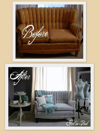Painted Sofa Before/After with Paloma/Old White mix Chalk Paint® Decorative Paint by Annie Sloan