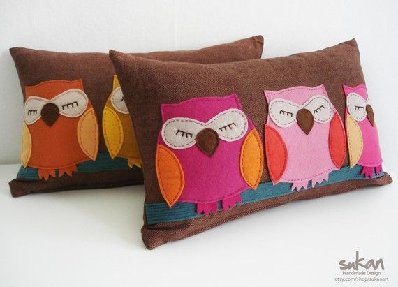 Owls sleeping on a branch...on a pillow. Adorable! $65.95