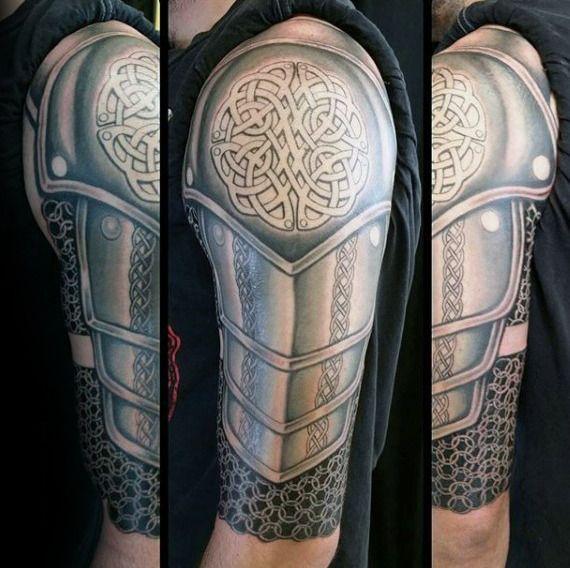 Realistic Celtic Knot Armor Plate Mens Half Sleeve Tattoo Armour Tattoo Celtic Tattoos For Men Sleeve Tattoos