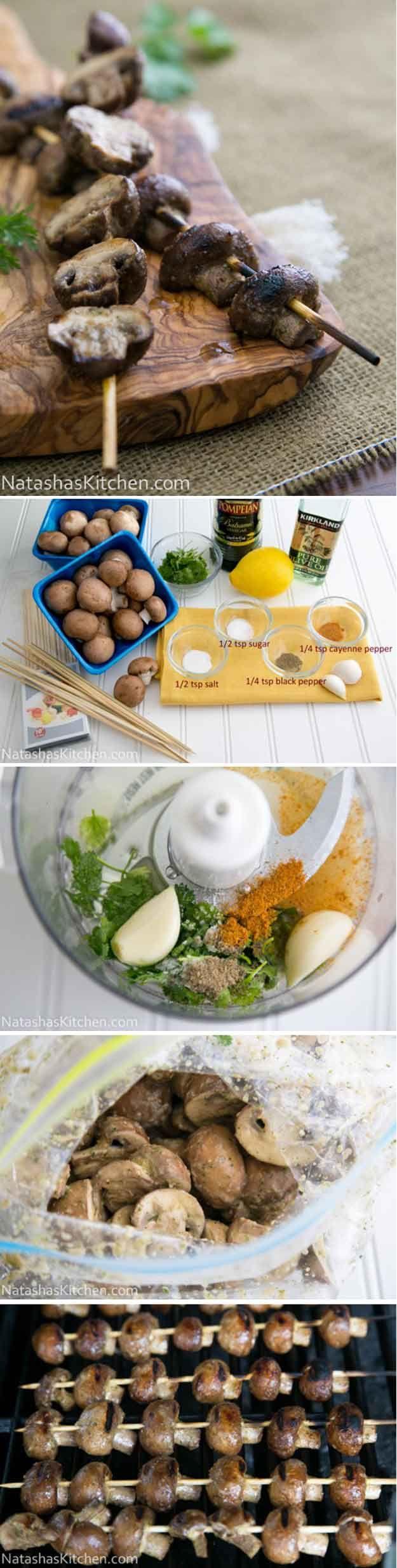 Grilled Mushrooms----------------------------------Gegrilde Champignons met een heerlijke marinade altijd een succes. En lekker mager