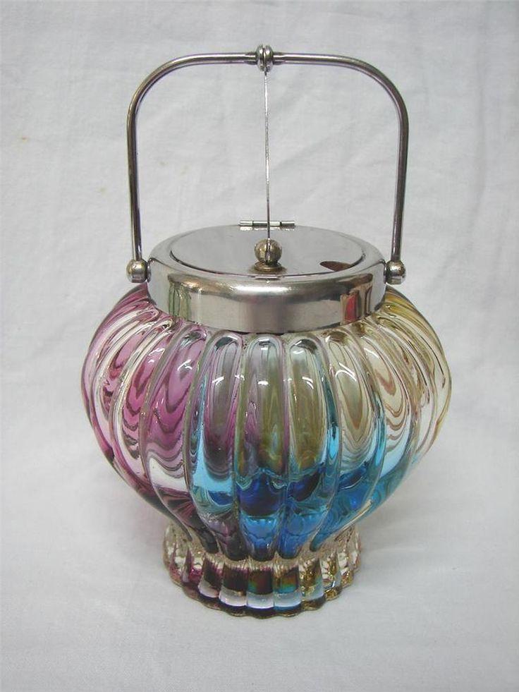 Vintage RETRO Harlequin Art Glass sugar bowl SANYU Japan Hinged lid