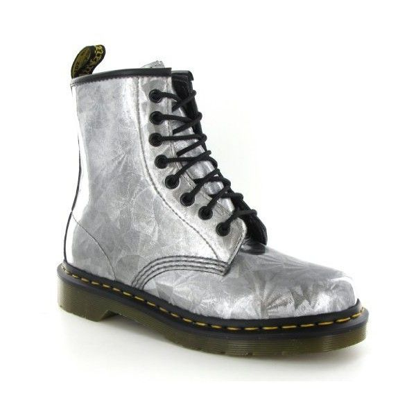 Dr.Martens 1460 Jewel Silver Womens Boots (135 PAB) ❤ liked on Polyvore featuring shoes, boots, jewel shoes, silver boots, dr. martens, dr martens shoes and jeweled boots