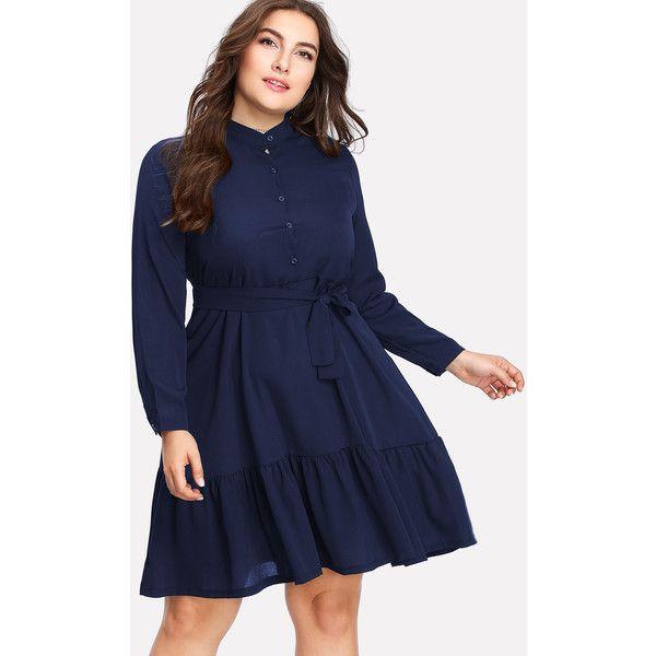 SheIn(sheinside) Button Front Ruffle Hem Tie Waist Shirt Dress (35 BAM) ❤ liked on Polyvore featuring dresses, navy, blue dresses, plus size shirt dress, navy blue short dress, plus size dresses and long-sleeve maxi dress