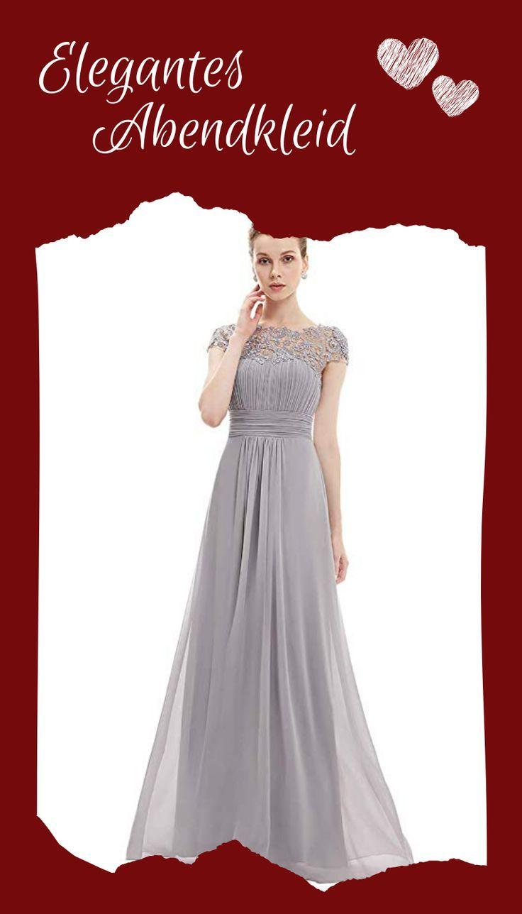 Ever-Pretty Damen Abendkleid A-Linie Spitze Chiffon Rundkragen Kurze /Ärmel Hohe Taille 09993