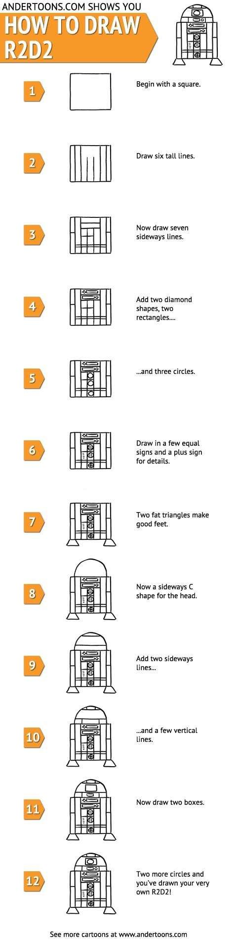 How to draw R2-D2 / Star Wars