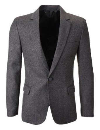 FLATSEVEN Mens Slim Fit Winter Classic Wool Blazer Jacket