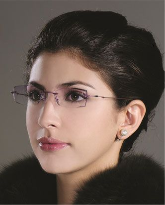 Faceted & jeweled rimless eyeglasses