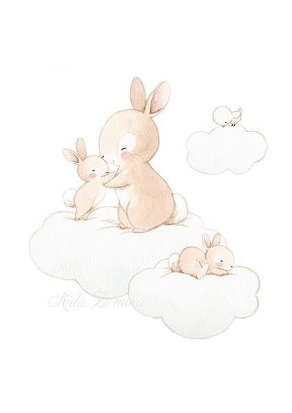 "NURSERY Art ""FAMILY BUNNY"" Art Print, Nursery Print, Bunny nursery art, Bunny on cloud art, Bunny wall art, Bunnies art, Aida Zamora"