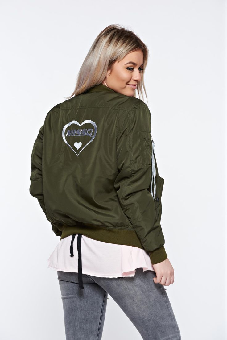 MissQ darkgreen jacket casual embroidered with zipper details pockets, graphic print, zipper fastening, zipper details pockets, women`s jacket