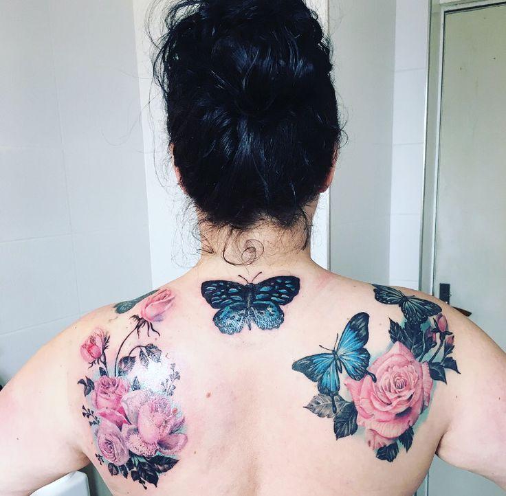 Tatuering, tattoo, fjäril, butterfly, shoulder, neck, ryggtatuering, rose, ros