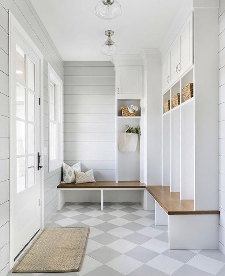 We Ve Specified Grey White Check Flooring With Porcelain Tile Cement Tile Marble And Even Painted Hardwood It S Softer Mudroom Design Mudroom Decor Home
