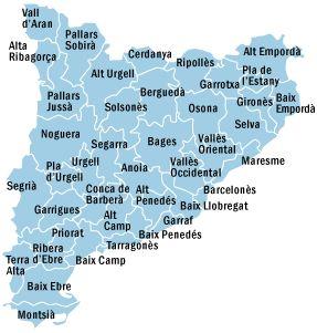 Mapa de les comarques catalanes que conté un anex amb informació de cada una d'elles