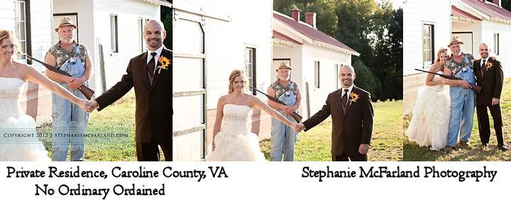 Wedding at a private residence in Caroline County, VA; officiated by No Ordinary Ordained; photograph by Stephanie McFarland Photography. The Groom's father surprised the couple wearing this outfit carrying his 12-gauge LOL