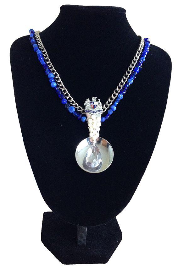 Antique pearls, blue beads, souvenir spoon
