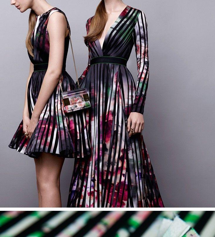 Plissada moda de Alta Costura tecido, print floral, ITÁLIA tecido, pregas acordeão tecido, costurar para o vestido, pant, saia, ofício pelo quintal em Tecido de Home & Garden no AliExpress.com | Alibaba Group
