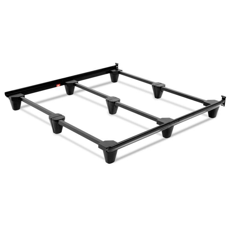 Presto Universal Sized Folding Bed Frame w/ Headboard Brackets, Charcoal