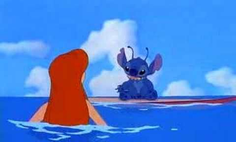 "Disney promoted this movie with a series of trailers inserting Stitch into some of its ""classic"" titles. Examples: - The Little Mermaid (1989): Stitch surfs a wave that crashes down on Ariel."