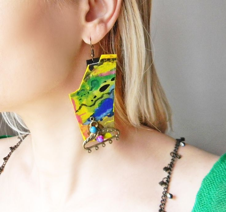 Excited to share the latest addition to my #etsy shop: Abstract dangle art earrings in blue , green and yellow with colorful abstract painting Big Paper art earrings Funky oversized fun earrings https://etsy.me/2Io6MKE
