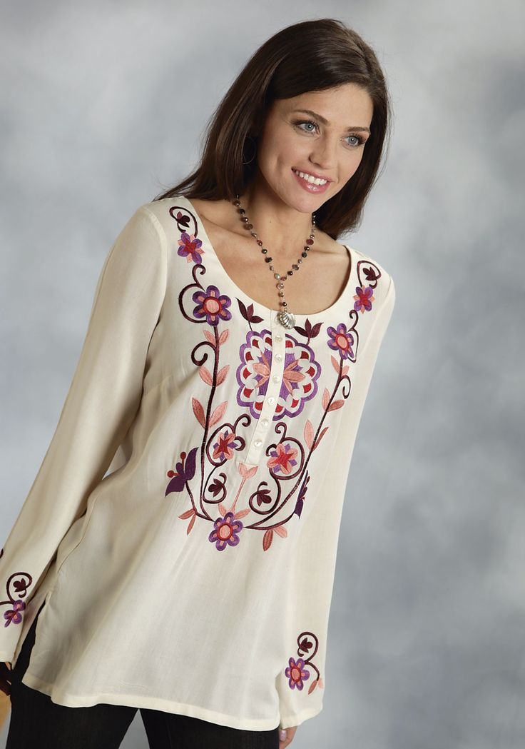 Roper® Ladies Ivory Rayon Challis Floral Embroidered LS ...