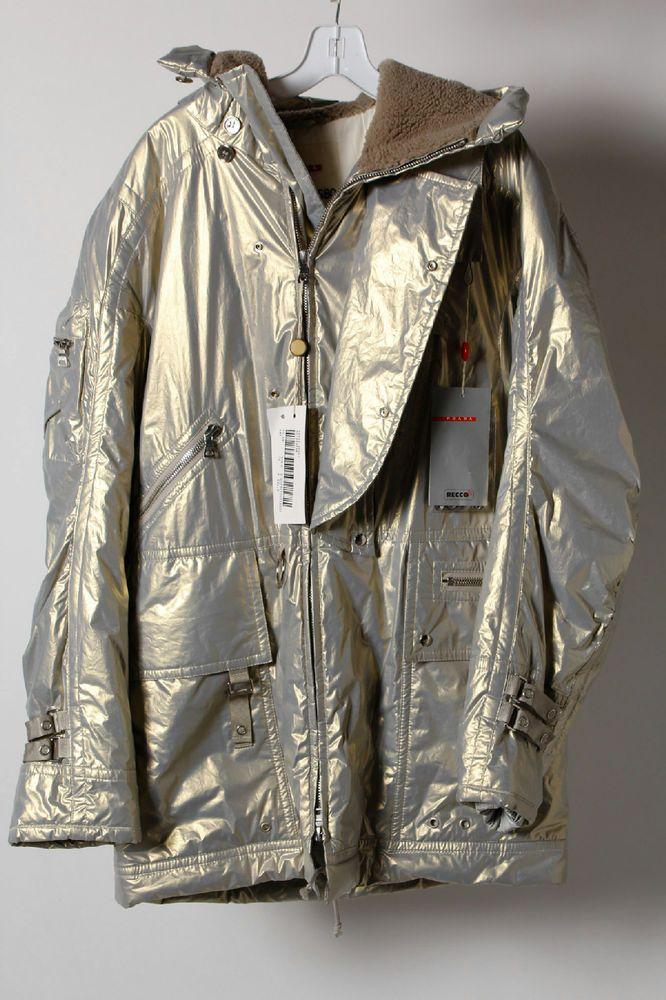 NWT Prada Recco Cotton Blend Beige Zip Up Hooded Unisex Coat Size 16 #Prada #Puffer