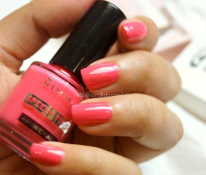 Neon Coral Pink Nails (Rimmel Speedy Finish 809)