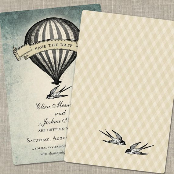Hot Air Balloon Save The Dates, Save The Date Postcard