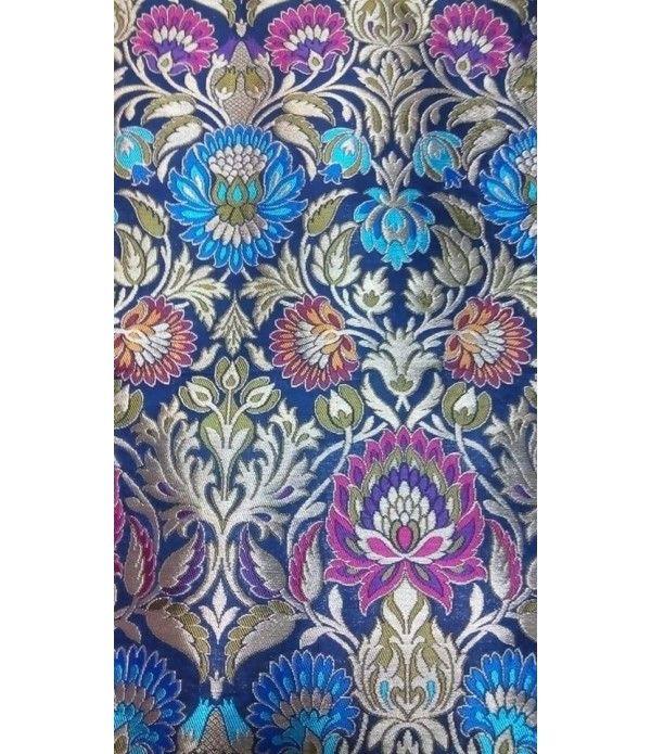Blue Banarasi Pure Handloom Khimkhab Fabric (2.5 mtr)