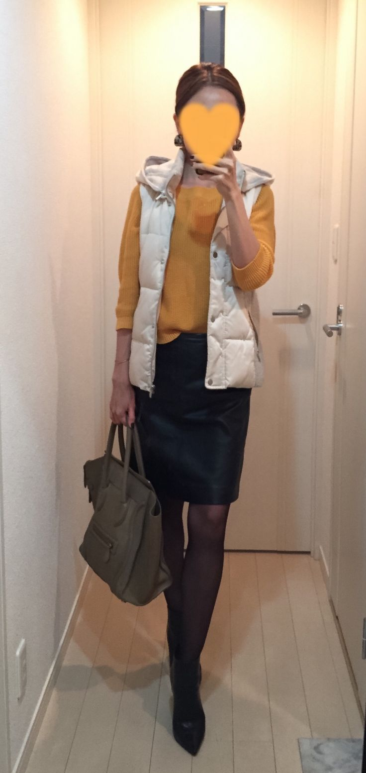 Vest: ZARA, Yellow sweater: MACKINTOSH PHILOSOPHY, Leather skirt: MACKINTOSH PHILOSOPHY, Bag: Celine, Boots: Jimmy Choo