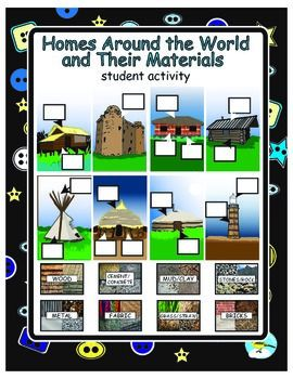 This activity allows students to show what they know about the  various building materials used to construct homes around the world.  The teacher may create booklets (single sided- see directions  page) and have the students cut and paste the correct materials cards in place.