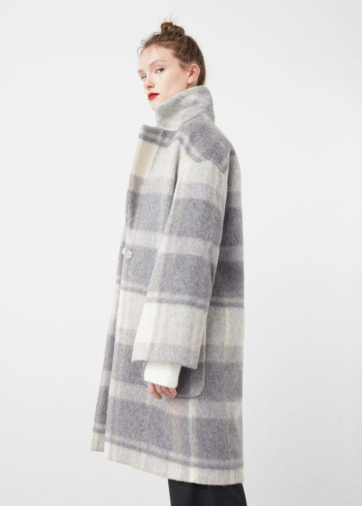 Check wool-blend coat | MANGO