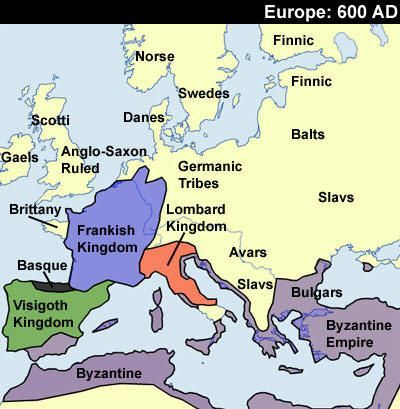 Map of Europe 600 AD: